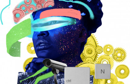 Futurist abstract collage illustration of Black person's head, security cameras, and bright augemented reality colors